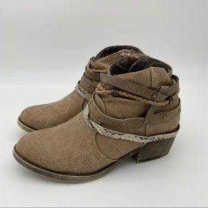 Taupe Strappy Ankle Booties Block Heel Round Toe